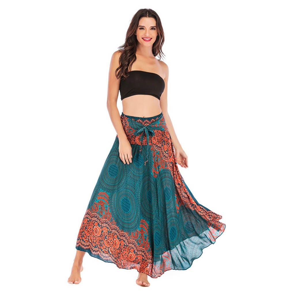 Dianli Boho Flowers Elastic Waist Floral Halter Skirt Women Hippie Bohemian Gypsy Skirt Ladies Beach National Style Long Dress Skirt