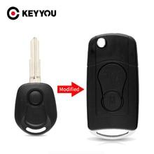 KEYYOU 2 Buttons Modified Flip Folding Remote Car Key Case For SsangYong Actyon Kyron Rexton Key Shell Case Blank Uncut Blade