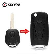KEYYOU-funda para mando a distancia para coche, 2 botones, abatible, modificada, para SsangYong Actyon Kyron Rexton Key Shell, carcasa, hoja sin cortar en blanco