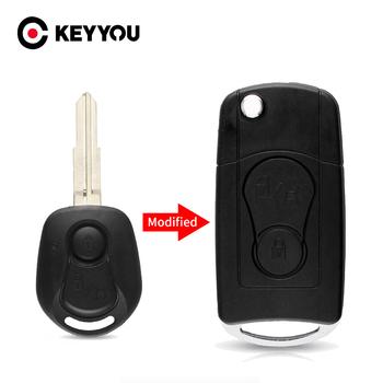 KEYYOU 2 przyciski zmodyfikowana klapka składana obudowa pilota z klucz samochodowym dla SsangYong Actyon Kyron Rexton obudowa kluczyka Case pusta Uncut Blade tanie i dobre opinie CN (pochodzenie) For Ssangyong In China