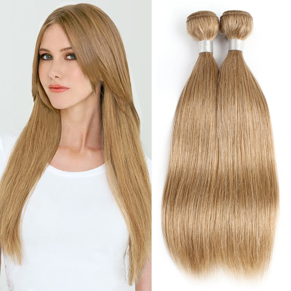 MOGUL HAIR Color 27 Honey Blonde Silky Straight Bundles Light Fashion Color Indian Straight Hair Weave Remy Human Hair Extension