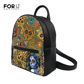 FORUDESIGNS Leather Backpack Women Vintage Mexican Skyle Sugar Skull Mini Backpack Fashion Causal Bags for Women Shoulder Bag image