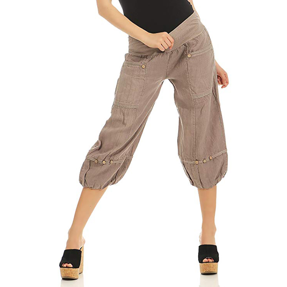 Adisputent Solid Pants Women Loose Wide Leg Pants Capris Bloomer Trousers Knee Length Female Bottoms Casual Pants Short Pants