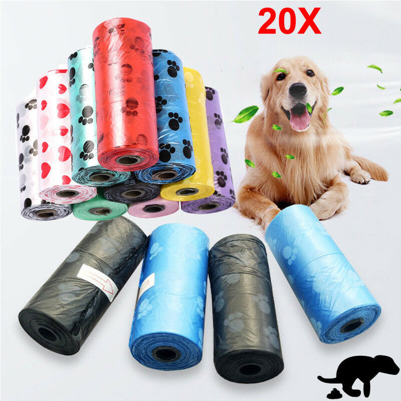20x Rolls Portable 400 Dog Pet Waste Poop Poo Refill Core Pick Up Clean-Up Bags Multicolor