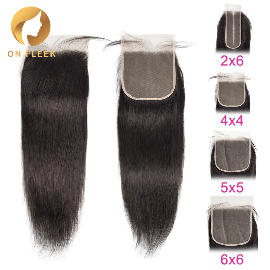 Brazilian Human Hair Lace Closure Straight 4x4 Transparent Lace Closure With Pre Plucked Baby Hair Remy Hair Bleached Knot