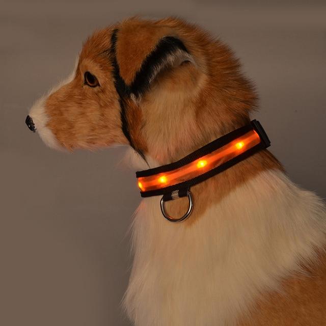 1PC Nylon LED Dog Collar Lamp With Dog Collar Night Safety Flashing Glow In The Dark Luminous Fluorescent Collars Pet Supplies 4