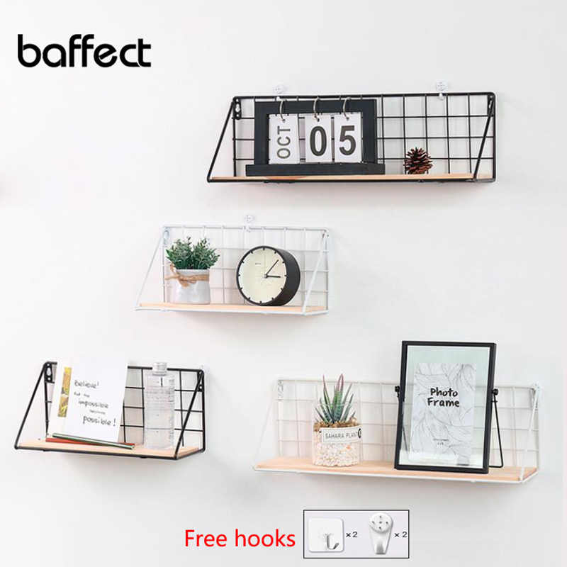 Wooden Iron Wall Shelf Wall Mounted Storage Rack Organization For Kitchen Bedroom Home Decor Kid Room DIY Wall Storage Shelves