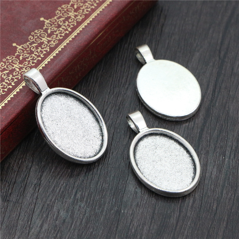 4pcs 18x25mm Inner Size Antique Silver Plated Classic Style Cameo Cabochon Base Setting Pendant Necklace Findings  (C2-02)