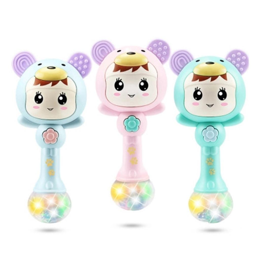LED Glowing Hand Rattle Music Sand Hammer Soft Teether Development Baby Toy For Newborn Baby Teethers Toys Perfect Gifts
