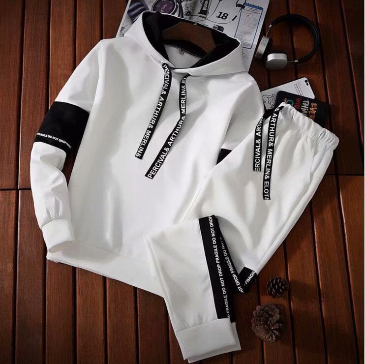 Summer Long Sleeve-MEN'S Short-sleeved T-shirt Students Hoodie T-shirt Korean-style Trend Casual A Set Of Clothes
