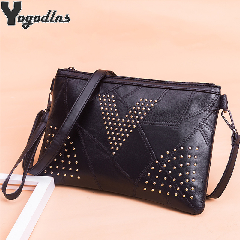High Quatily Sheepskin Shoulder Bag For Women Clutch Handbag Mini Fashion Black Messenger Bag Ladies Small Enveloped Crossbody