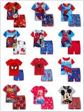 Sommer Kinder Pyjamas Kurzarm T Shirt + Shorts Sets Kid Pyjamas Junge Mädchen Pijamas Cartoon Spiderman Elsa Baby Nachtwäsche anzug