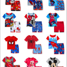 Children Pajamas Sleepwear-Suit Shorts-Sets T-Shirt Spiderman Elsa Baby Cartoon Summer
