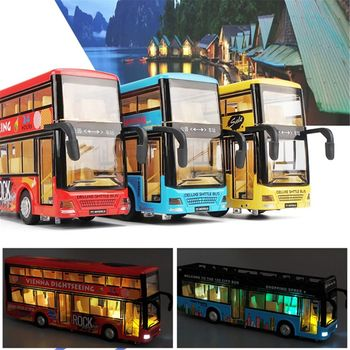 Simulation Double-deck Alloy Bus Toy Bus Model Light Sound Alloy Car Diecasts Toy Vehicles For Boys 1 2 3 4 Years Old