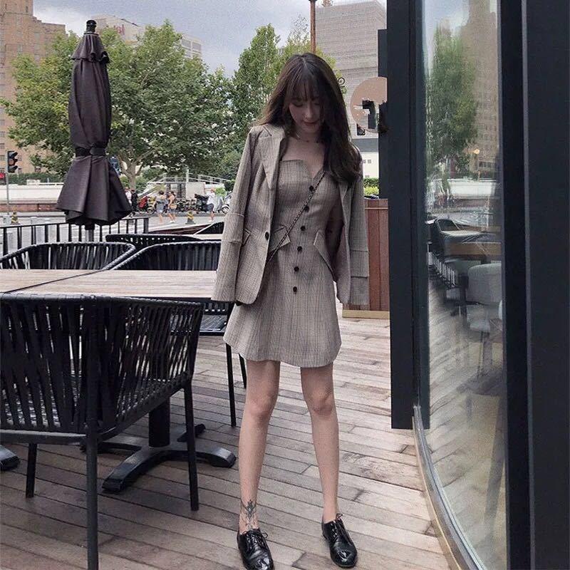 Women Vintage Plaid Blazer Coat Two Piece Blazer Suits Retro High Waist Mini Dress Outfits Office Work Set