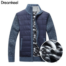 2019 New Men #8217 s Thick Sweater Coat Male Autumn Winter Down Sweatercoat Black Blue Gray Zipper Sweater Jacket Outerwear Y cheap dreamkeel A706 Solid Turn-down Collar Cotton Spandex Wool Zippers Casual Full Regular Computer Knitted Thick (Winter)