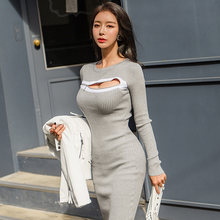 2020 autumn and winter new Korean style temperament slim mid-length fashion knitted bag hip bottom skirt dress(China)