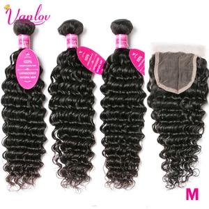 Vanlov Deep Wave Bundles With Closure Brazilian Hair Weave 3 Bundles With Lace Closure Remy Human Hair Bundles With Closure