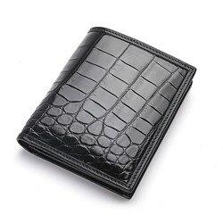 Мужской кошелек из натуральной кожи аллигатора, короткий коричневый, dinero bolsa hombre, винтажный Европейский дизайн, кожаные модные кошельки для ...