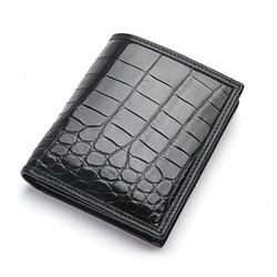 Cartera de hombre real cocodrilo corto marrón dinero bolsa hombre Vintage europeo diseñador de cuero de moda tarjetero bolso de bolsillo