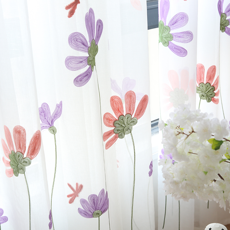 Modern Floral White Tulle Curtains For Living Room Bedroom