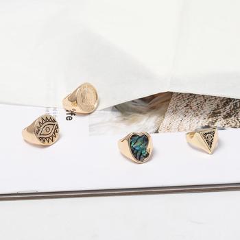 Anillo de dedo de ojo malvado para retrato de monedas, anillos de sello de diamantes de imitación irregulares para mujeres, joyería de protección para hombres, venta al por mayor