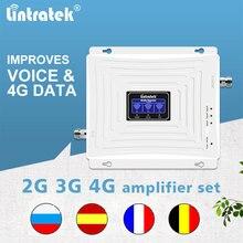 Lintratek 900mhz 1800mhz 2100mhz خلية الداعم إشارة gsm 2g 3g 4g dcs wcdma lte الهاتف المحمول مكرر ثلاثي الفرقة مكبر للصوت مجموعة