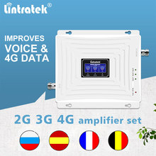 Lintratek amplificador de señal de móvil, 900mhz, 1800mhz, 2100mhz, gsm 2g, 3g, 4g, dcs, wcdma, lte, conjunto de amplificador de tres bandas
