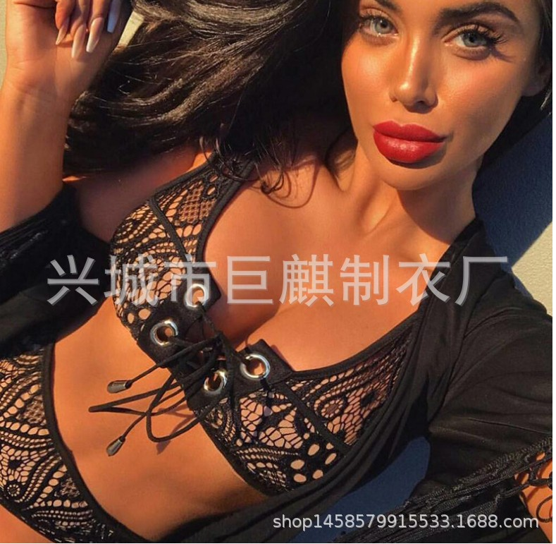 2119 Hot Selling Bikini Bandage Cloth-And-Eye Lace Biniki Bathing Suit Women's Europe And America New Style