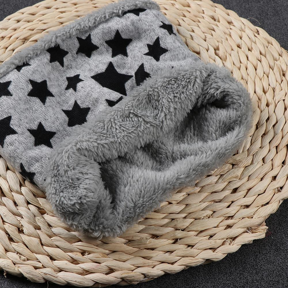 Winter Children Scarf Five Stars Print Autumn Baby Scarf Boys Girls Kids Dot Print Ring Children Cotton Fur Plush Loop Scarves
