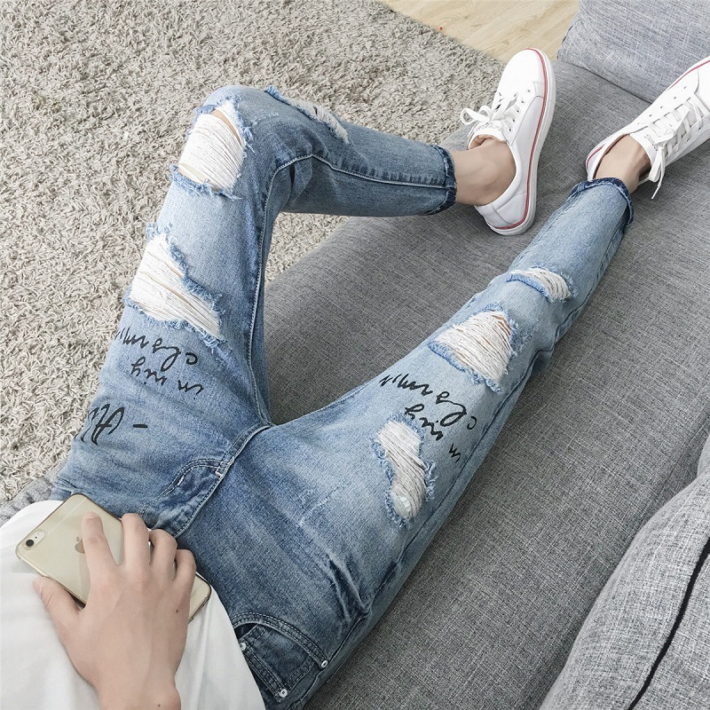 Autumn Popular Brand Beggar With Holes Jeans Men Handsome INS Trend Korean-style Slim Fit Skinny Pants Korean-style Men's Trouse