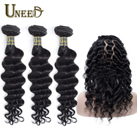 Uneed Hair Brazilian Loose Deep Wave 3 Bundle With 360 Lace Frontal 100% Remy Natural Human Hair Weave Bundles With 360 Frontal