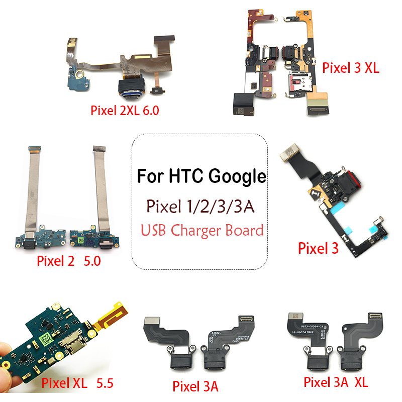 For HTC <font><b>Google</b></font> <font><b>Pixel</b></font> 2 3 <font><b>3A</b></font> XL Dock Connector Micro USB <font><b>Charger</b></font> Charging Port Flex Cable Board With Microphone Replacement Parts image