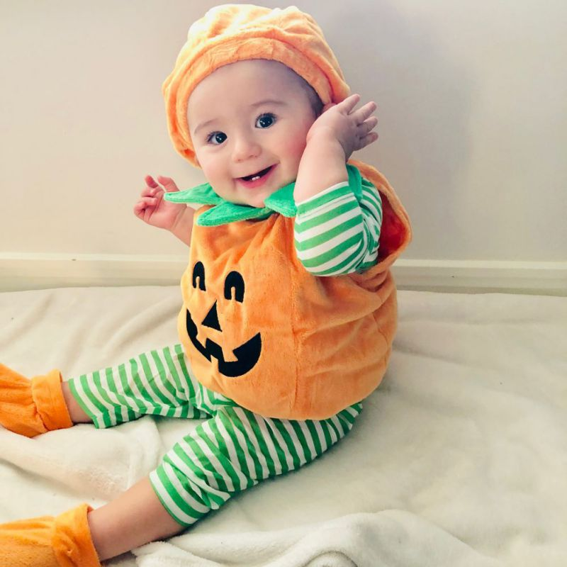 0-3T Baby Unisex Kids Toddler Newborn Baby Boy Halloween Clothing Set Pumpkin Romper Cosplay Outfits With Hat Shoes