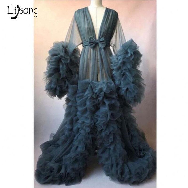 Chic Materninty à volants Tulle Photo robes à manches longues robe ajustée maternité photographie robes maternité mariage robes formelles