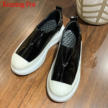 Krazing Pot new genuine leather mixed colors slip on loafers shoes round toe high heels thick bottom women vulcanized shoes L10