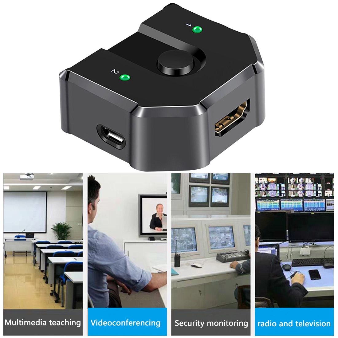 2 In 1 Out 3D 4K Office Video Distributor Bi-directional Sharing Plug And Play Selector Professional ABS Universal HDMI Splitter