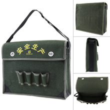 15.5 Inch 600D Oxford Cloth Waterproof Flip-type Single-shoulder Tool Bag with 4 Holes 2 Pockets and Strap for Maintenance Tools