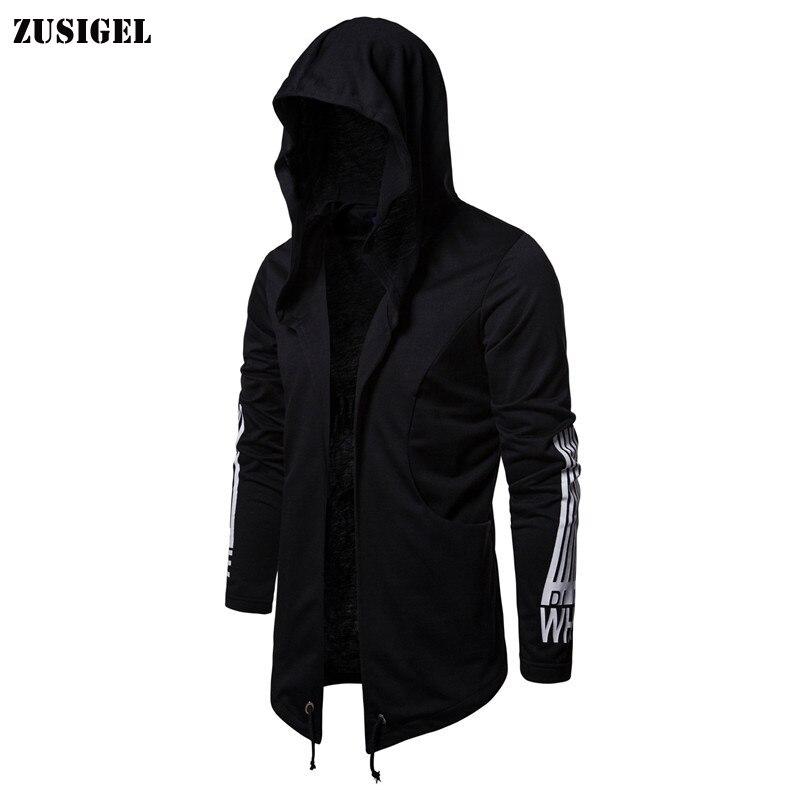 ZUSIGEL 2019 New Casual Full Print Black Hoodie Assassin Style Cardigan Hooded Men Sweatshirt Youth Regular Cotton Mens