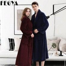 Winter Thick Warm Female Coral Fleece Kimono Robe Lovers Couple Women Men Nightgown Bath Gown Sleepwear Large Long Nightwear