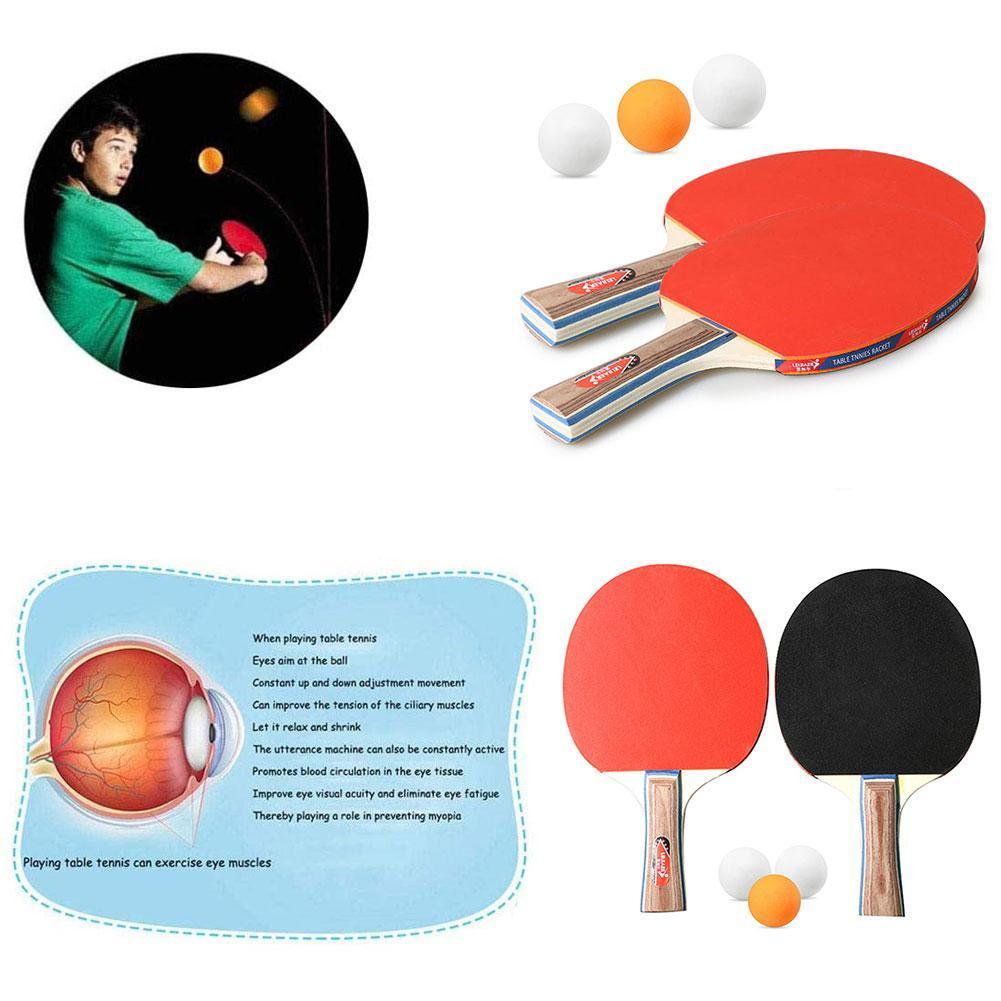 2pcs Table Tennis Racket With 3 Balls Ping Pong Set Sports Face Rubber Supplies Double Home School Clubs D2S6