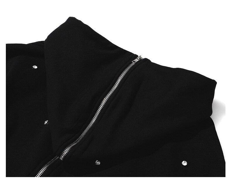 Wreeima 2019 весна осень мода уличная молния большой черный отложной воротник бриллианты Толстовка женские повседневные толстовки - 6