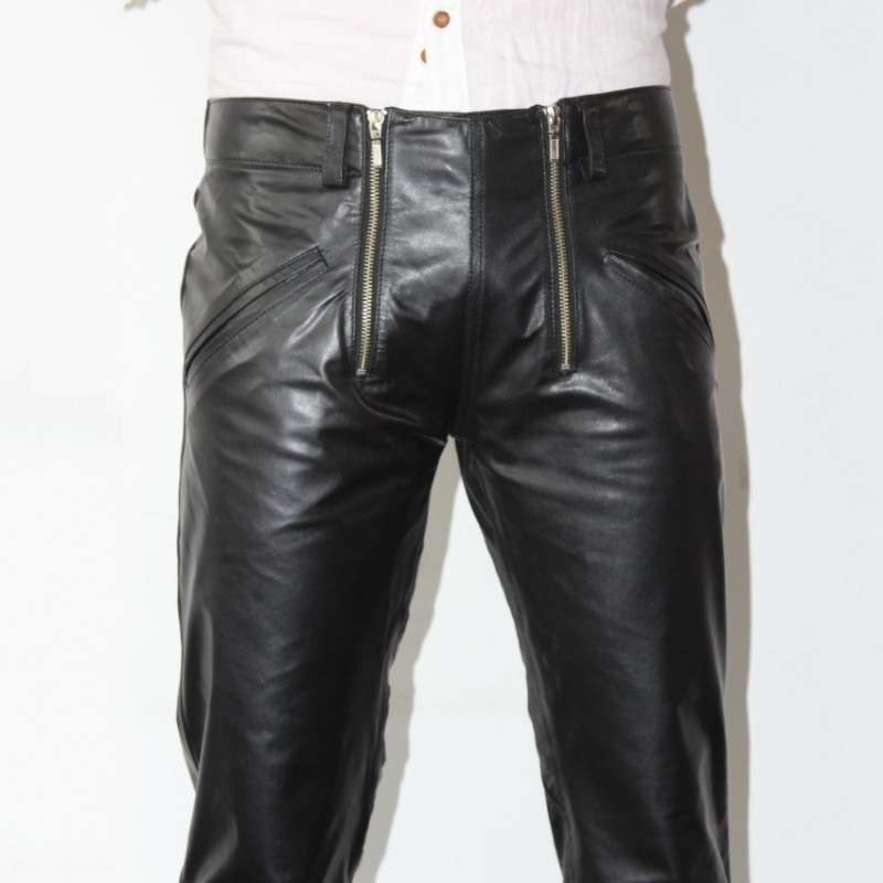 Brand Fashion Mens Sheepskin Genuine Leather Pencil Pants Plus Size Harajuku Double Zippers Designer Motorcycle Leather Pants