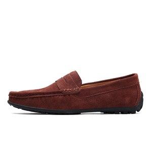 Image 3 - Üzerinde kayma erkek loaferlar deri süet ayakkabı erkekler rahat moccasins Hombre mokasen tekne ayakkabı mokasen adam sürüş yaz Loffers beyaz 47