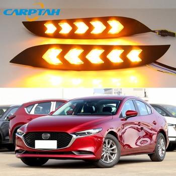 For Mazda 3 Axela 2019 2020 LED Daytime Running Light Waterproof Yellow Turn Signal Indicator Light12V  Bumper Lamp LED DRL