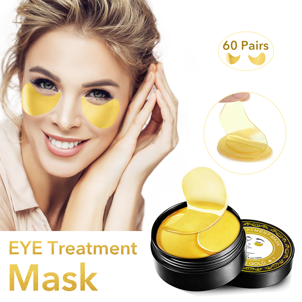 24K Gold Eye Treatment Mask 60 Pairs Under Eye Patches Collagen Eye Mask Reduce Wrinkles Puffiness Dark Circles Eye Bags