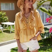 Женская желтая блузка с рюшами летняя тонкая хлопковая на пуговицах