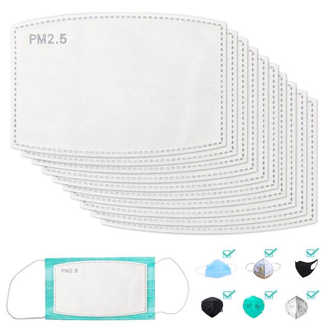 20-100 PCS PM2.5 Filter Paper Anti Haze Mouth Face Mask Pad Flu Anti pm 25 Dust Mask Activated Carbon Filter Paper Health Care