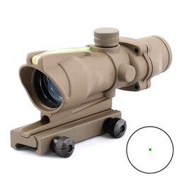 Тактический Оптический прицел с зелеными точками в стиле ACOG 1X32, оптический прицел из натурального зеленого волокна с зелеными точками для о...