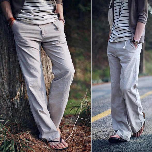 5 colores pantalones largos pantalones al aire libre coreanos hombres sueltos casual transpirable Lino M-3XL 2019